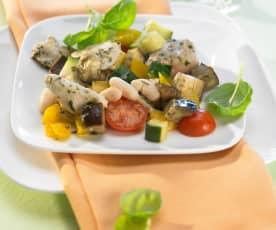 Kuře připravené v balíčku s bazalkovým pestem