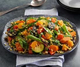 Brown Rice Salad with Turmeric Dressing