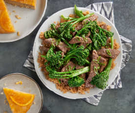 Mongolian Beef with Rice and Steamed Orange Cake