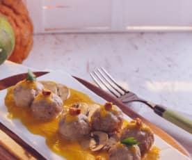 Polpette in salsa di zucca con funghi