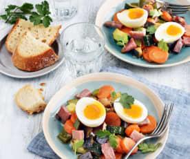 Œufs mollets, ratatouille et jambon