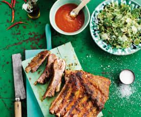 Piano com molho barbecue e salada de cenoura