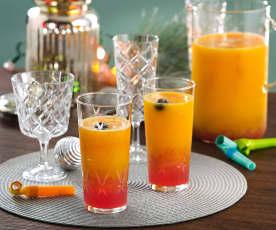 Mocktail de melocotón y arándanos rojos