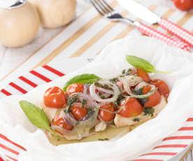 Filetti di halibut con cipolla di Tropea e pomodorini