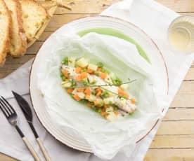 Gallinella con macedonia di verdure in olio aromatico