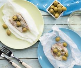 Triglie con marinata di capperi e olive