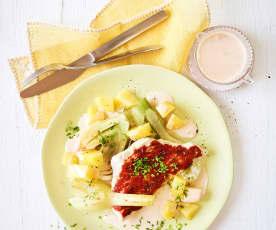 Balsamico-Schnitzel mit Kartoffeln und Fenchel