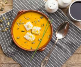 Vellutata di zucca e patate con merluzzo all'arancia