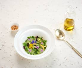 Emulsion verte, végétaux en suspension, olive-citron-cacahuètes (Sébastien Richard)