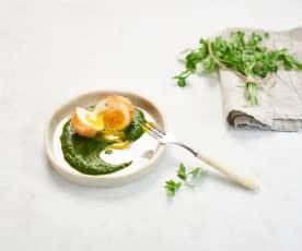Œuf de ferme coulant et chlorophylle de blette (Nicolas Masse)