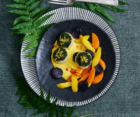 Jakobsmuscheln mit Kräuterhaube und Gemüse