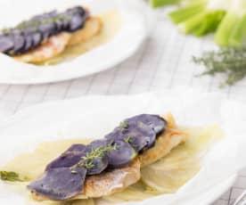 Scorfano al cartoccio con patate viola