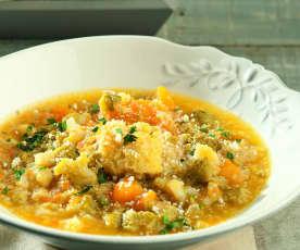 Zuppa di cavolfiore, broccolo romanesco e zucca