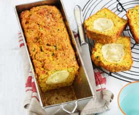 Cake aux carottes, persil et chèvre
