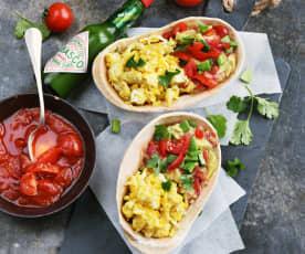 Œufs à la mexicaine et au guacamole