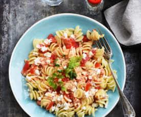 Pâtes à la feta, tomates et olives