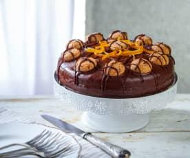 Torta agli amaretti con cioccolato fondente al profumo di arancia