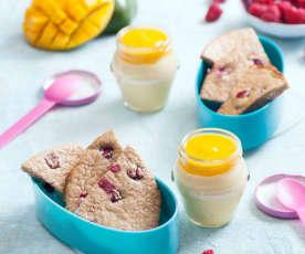 Pieczony naleśnik jaglany z malinami i jogurt mango