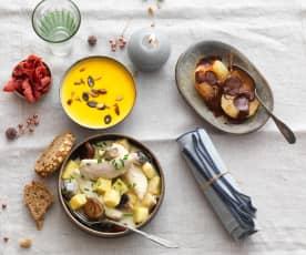 Velouté de patate douce au lait de coco, volaille sauce poulette et papillote de poires au chocolat