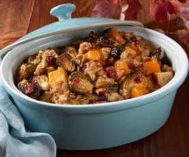 Herb Stuffing with Butternut Squash and Brussels Sprouts