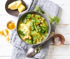 Kartoffel-Curry-Topf mit Kichererbsen