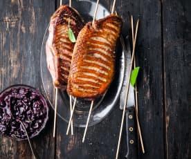 Magrets de canard, sauce aux myrtilles