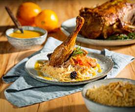 Ente mit Orangen-Ingwer-Sauce und Couscous