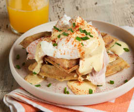 Turkey Benedict with Stuffing Waffles