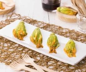 Fiori di zucchina ripieni con speck e provola