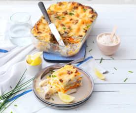 Lasagne au merlu, légumes et champignons