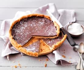 Tarte vegan au chocolat et caramel