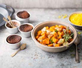 Légumes d'automne aux épices, semoule et fondant au chocolat vapeur
