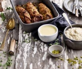 Lombinhos de porco com crosta de pistácio e puré de couve-flor - TM5