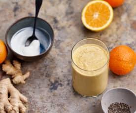 Smoothie de laranja, cenoura e gengibre