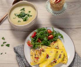 Menü: Sellerie-Apfel-Suppe, Omelett und Apfelmuffins