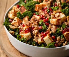 Warm Halloumi, Walnut and Pomegranate Salad