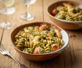 Prawn Pasta with Rocket Pesto