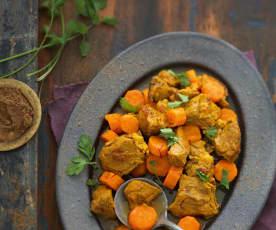 Tajine d'agneau safrané aux carottes fondantes