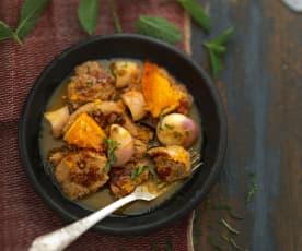 Tajine de veau à l'orange, gingembre et menthe