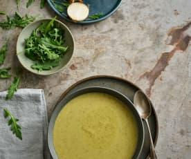 Sopa de brócolos e rúcula