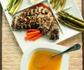 Papillote de pollo a la pimienta con verduras y caldo