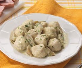 Gnocchi de ricotta, sauce à l'artichaut