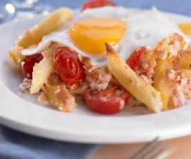 Zapečené těstoviny s játrovým sýrem a sázeným vejcem