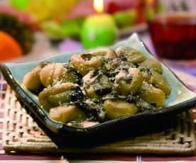 Gnocchi au safran et sauce à la salade de Trévise