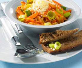 Pasta with leek and ajvar