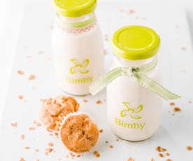 Iogurte líquido de laranja e cereais