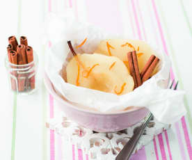 Peras em papelote com moscatel e laranja