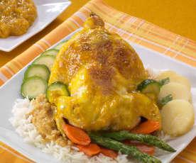 Pollo in umido con zafferano e arancia
