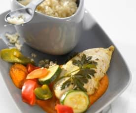 Frango marinado com legumes de Verão