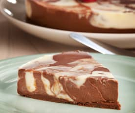 Unbaked marbled cheesecake
